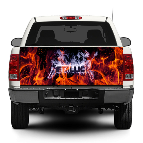 Metallica trash metal Fire Tailgate Decal Sticker Wrap Pick-up Truck SUV Car
