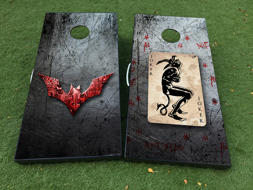 Batman And  Joker DC Comics Cornhole Board Game Decal VINYL WRAPS with LAMINATED