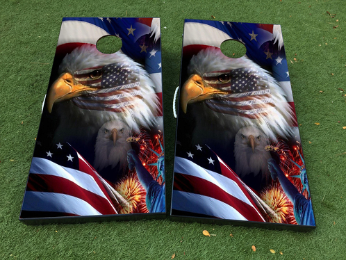 American Flag Eagle Cornhole Board Game Decal VINYL WRAPS with LAMINATED