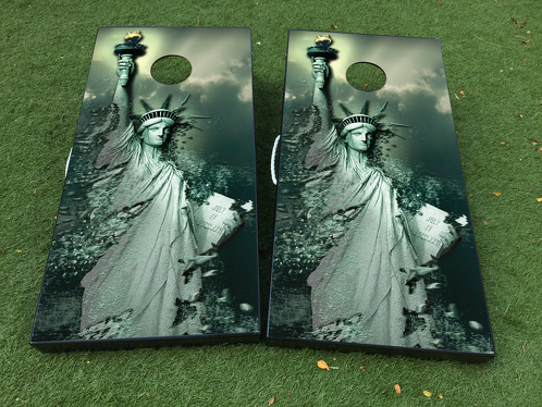 Statue of Liberty USA Cornhole Board Game Decal VINYL WRAPS with LAMINATED