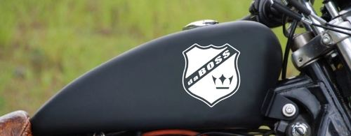 Motorcycle Decal Sticker daBOSS Gas Fuel Tank sport racing emblem logo color WHT