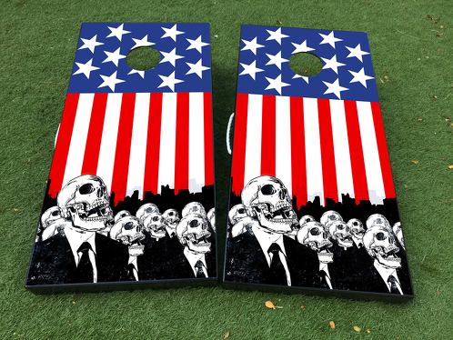 American Flag USA Zombie Cornhole Board Game Decal VINYL WRAPS with LAMINATED