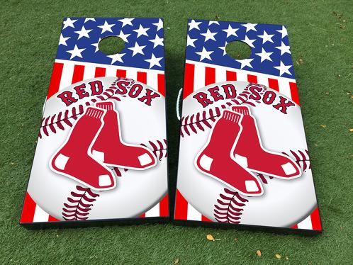 Boston Red Sox Baseball Cornhole Brettspiel Aufkleber VINYL WRAPS mit LAMINIERT