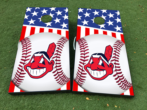 Cleveland Indians Baseball Team Cornhole Board Game Decal VINYL WRAPS with LAMINATED