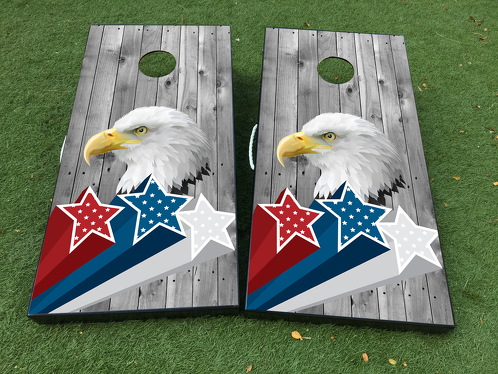 American Eagle USA Star Independence Day Cornhole Board Game Decal VINYL WRAPS with LAMINATED