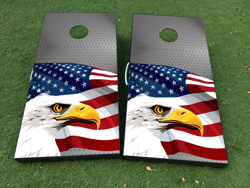American Eagle Steel Texture Cornhole Board Game Decal VINYL WRAPS with LAMINATED