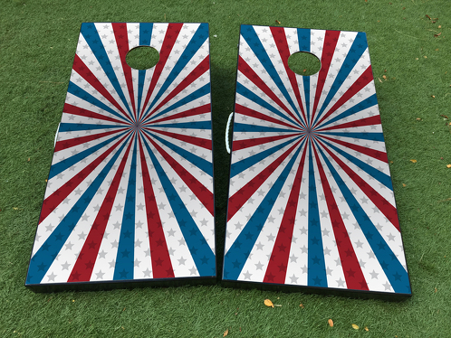 Independence Day United Statesf American Flag Cornhole Board Game Decal VINYL WRAPS with LAMINATED