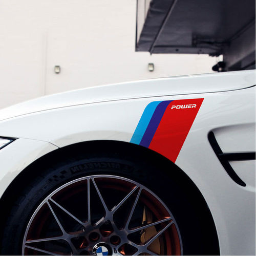 Pair Side Logo M Power Fender Scuttle Sticker for BMW E90 E60 F30 F35 F10 X5 M5