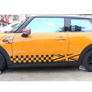 Checkered Style Side Racing Stripes Door Skirt Decal Sticker for MINI Cooper F56