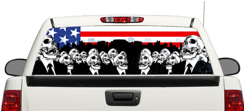 Product Five Finger Death Punch Skull Rear Window Decal Sticker - Truck back window decals