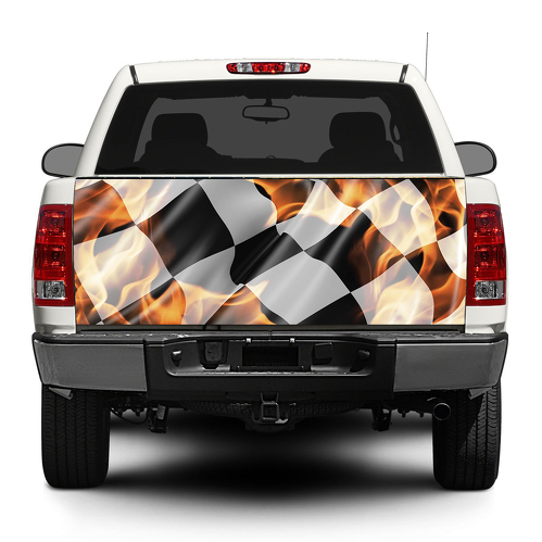 Checkered flag in flame Tailgate Decal Sticker Wrap Pick-up Truck SUV Car
