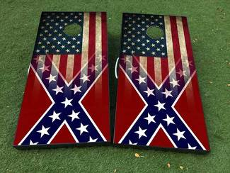 General Lee and American Flag patriotic Cornhole Board Game Decal VINYL WRAPS with LAMINATED