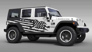 US flag theme splash Stars Graphic Decal for 07-17 Jeep Wrangler Unlimited JK 4 Door