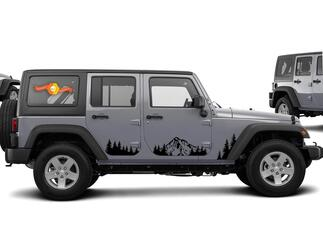JEEP Decal Sticker pine tree forest and mountains door graphics  Wrangler JK 4 Door