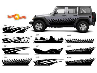 JEEP Decal Sticker splash side rocker door graphics 07-17  Wrangler JK 4 door