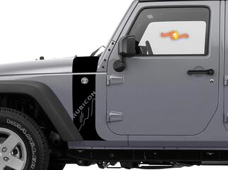 Jeep Wrangler JK Hood Cowl and Stripe going down the fender Decal Sticker graphics