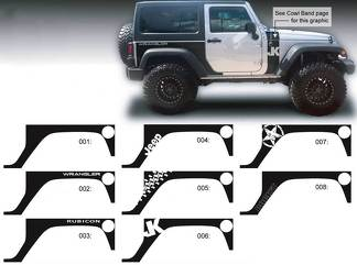 JEEP Decal Sticker Rear Quarter side graphics 07-16  Wrangler JK 2 door