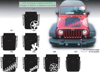 JEEP Decal Sticker Hood Badge Blackout graphics 07-16  Wrangler Rubicon