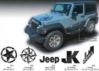 JEEP Decal Sticker Hood graphics 07-16  Wrangler Rubicon JK Rockit