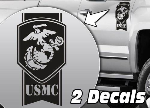 Military Army USMC Globe stripes Truck Bed side Decal Stickers fits to Dodge Ram Chevy Silverado Ford F150 Toyota Tundra