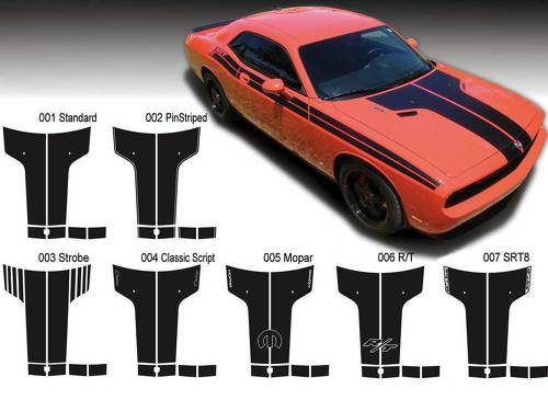 Dodge Challenger Hood T Decal Sticker Hood graphics fits to models 09-14