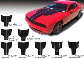 Dodge Challenger Hood T Decal Sticker Hood graphics fits to models 2015