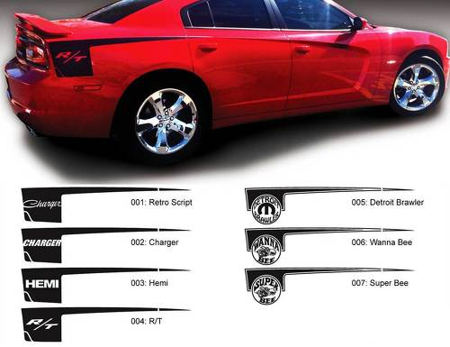 Dodge Charger side Hatchet Stripe HEMI R/T Mopar Super Bee Decal Sticker graphics fits to models 2011-2014