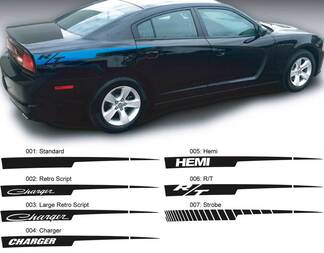 Dodge Charger Straight razor Hemi RT Decal Sticker Side graphics fits to models 2011-2014