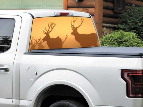 Hirsche in den Sonnenuntergangsstrahlen Heckscheibe Aufkleber Aufkleber Pick-up Truck SUV Auto jeder Größe