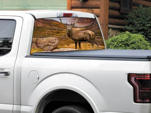 Deer and Mountains beautiful nature Rear Window Decal Sticker Pick-up Truck SUV Car any size