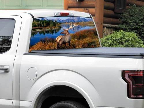 Deer mountains river US landscape nature Rear Window Decal Sticker Pick-up Truck SUV Car any size