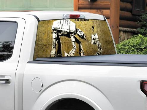 AT AT Walker AT ST Funny Star Wars Rear Window Decal Sticker Pick-up Truck SUV Car any size