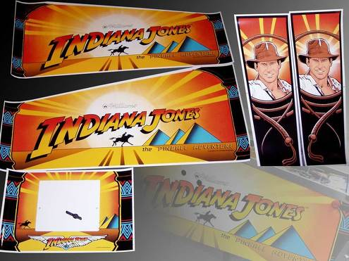 Indiana Jones Pinball Cabinet Decal Set not OEM