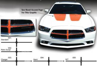 Dodge Charger Grill Cross Hair Hemi Decal Sticker Complete Graphics Kit fits to models 2011-2014