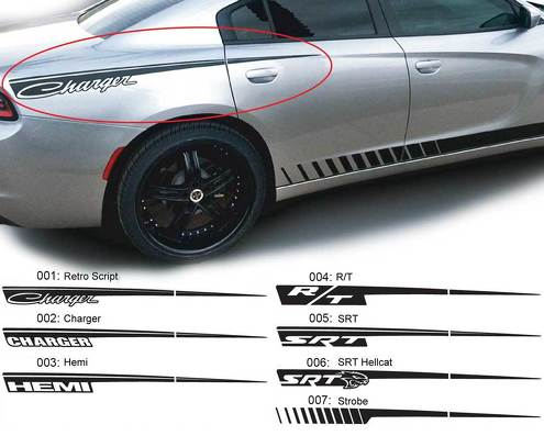 Dodge Charger Straight Razor Decal Sticker Complete Graphics Kit fits to models 2015-2017