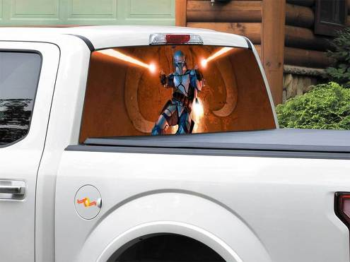 Star Wars Bounty Hunter Jango Fett Rear Window Decal Sticker Pick-up Truck SUV Car any size