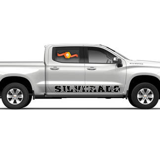 2 SILVERADO Rocker panel door runner decal Fits: Chevy Silverado 4 door trucks