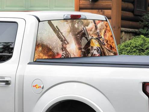 Boba Fett Bounty Hunter Explosion Gun Star Wars Rear Window Decal Sticker Pick-up Truck SUV Car any size