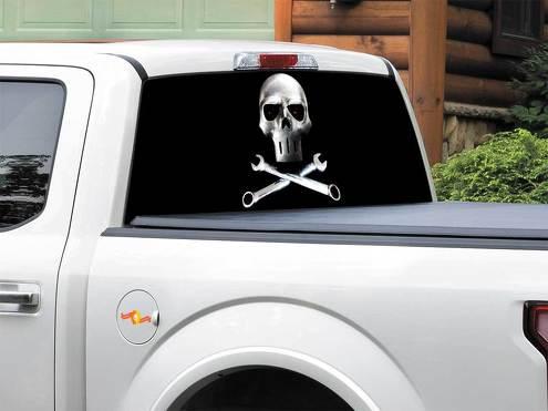 Metallschädel Stahl Heckscheibe Aufkleber Aufkleber Pick-up Truck SUV Auto jeder Größe