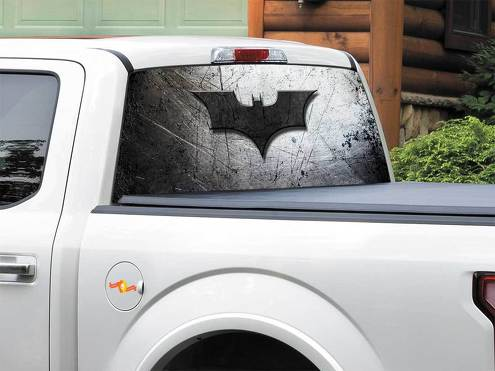 Batman logo on metal plate DC comics Rear Window Decal Sticker Pick-up Truck SUV Car any size