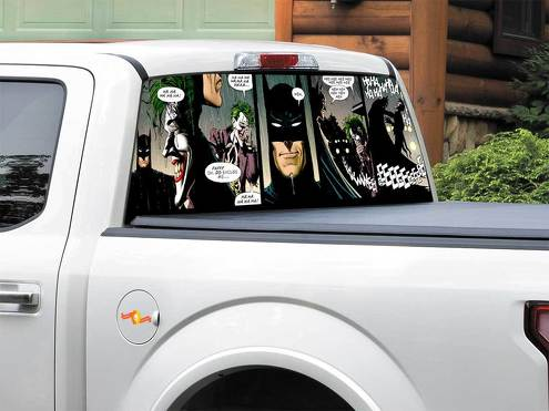 Batman vs Joker DC comics Rear Window Decal Sticker Pick-up Truck SUV Car any size