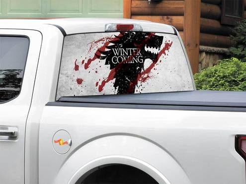 Winter is coming House Stark TV Show Game Of Thrones Rear Window Decal Sticker Pick-up Truck SUV Car any size