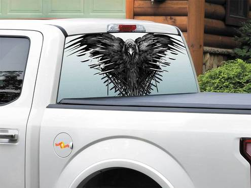 Bird Crow Raven House Stark TV Show Game Of Thrones Rear Window Decal Sticker Pick-up Truck SUV Car any size