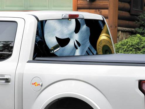 Punisher logo bullet Marvel comics Rear Window Decal Sticker Pick-up Truck SUV Car any size