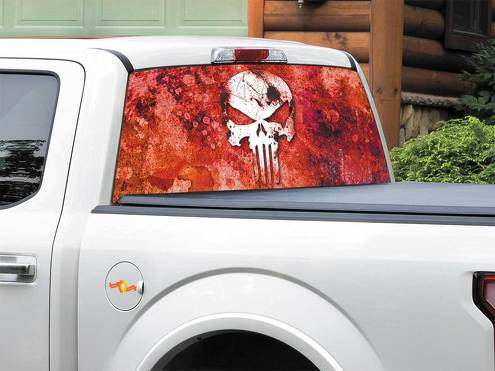 Punisher logo red Marvel comics Rear Window Decal Sticker Pick-up Truck SUV Car any size
