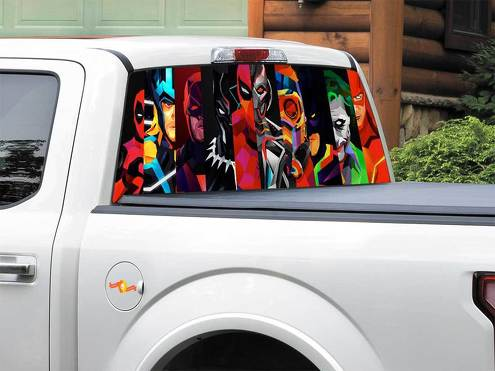 Batman Black Panther Daredevil Deadpool Flash Joker Spider Man Star Lord Thor Ultron DC comics Rear Window Decal Sticker Pick-up Truck SUV Car any size