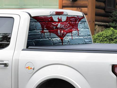 Batman logo blood DC Comics Rear Window Decal Sticker Pick-up Truck SUV Car any size