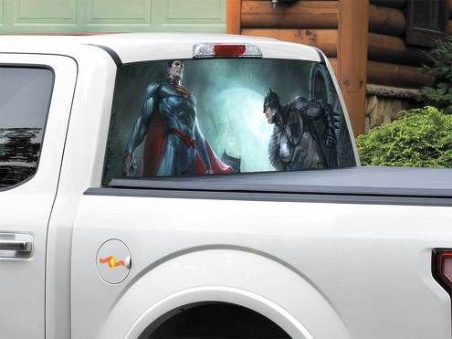 Batman vs Superman DC Comics art Rear Window Decal Sticker Pick-up Truck SUV Car any size