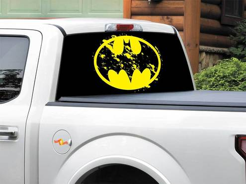 Batman logo yellow DC Comics art Rear Window Decal Sticker Pick-up Truck SUV Car any size