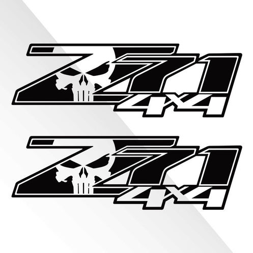 2 Chevy Silverado Z71 4x4 GMC GM Sierra Decals Stickers 1500 2500 Punisher Skull
